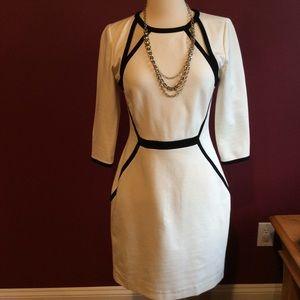 Banana Republic cream/black cutout sheath dress